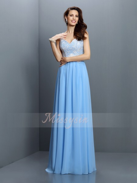 A-Line/Princess Sleeveless V-neck,Straps Floor-Length Chiffon Bridesmaid Dresses