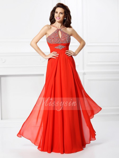 A-Line/Princess Sleeveless Beading Floor-Length Chiffon Dresses