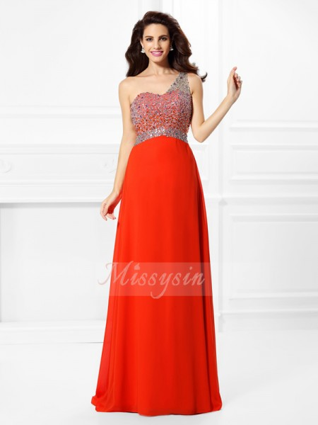 A-Line/Princess Sleeveless One-Shoulder Beading Floor-Length Chiffon Dresses