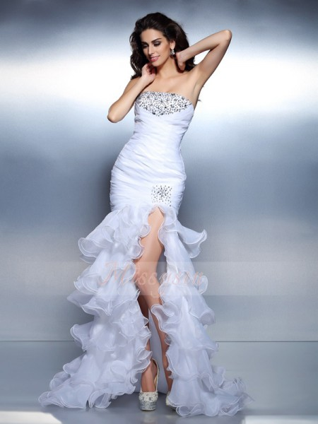 Trumpet/Mermaid Sleeveless Strapless Beading,Ruched Floor-Length Organza Dresses