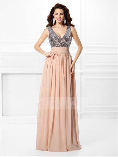 A-Line/Princess Sleeveless V-neck Paillette Floor-Length Chiffon Dresses