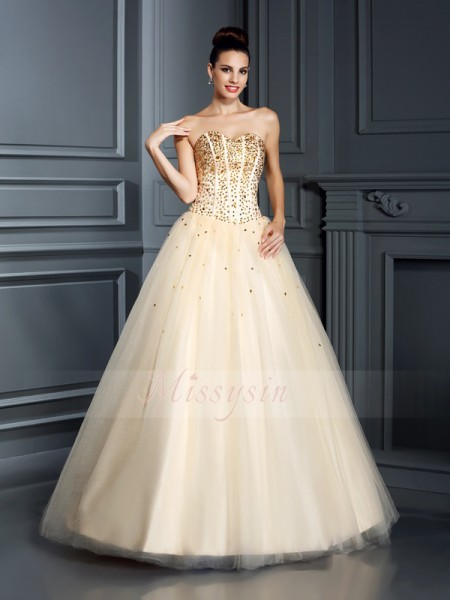 Ball Gown Sleeveless Sweetheart Beading Floor-Length Satin Dresses
