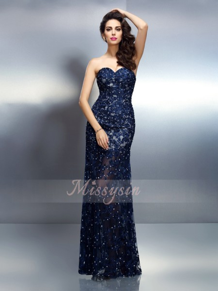 Trumpet/Mermaid Sleeveless Sweetheart Beading Floor-Length Elastic Woven Satin Dresses