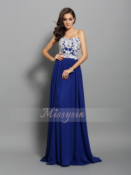 A-Line/Princess Sleeveless Sweetheart Applique Sweep/Brush Train Chiffon Dresses