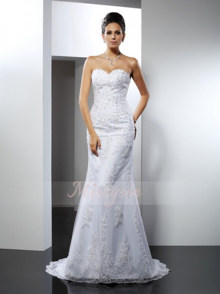 Trumpet/Mermaid Sleeveless Sweetheart Court Train Satin Wedding Dresses