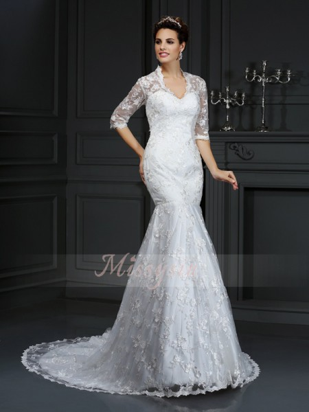 Trumpet/Mermaid 1/2 Sleeves V-neck Court Train Lace Wedding Dresses