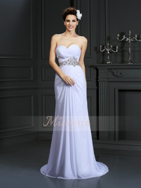 Sheath/Column Sleeveless Sweetheart Beading Chapel Train Chiffon Wedding Dresses