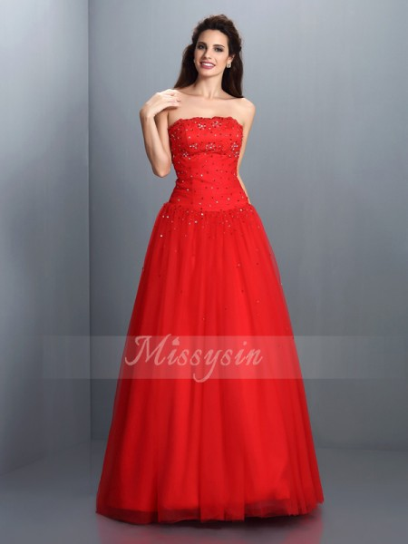 Ball Gown Sleeveless Strapless Beading Floor-Length Organza Dresses
