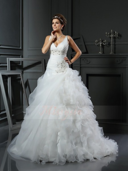Ball Gown Sleeveless V-neck Ruffles Court Train Organza Wedding Dresses