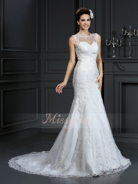 Sheath/Column Sleeveless Bateau Court Train Satin Wedding Dresses