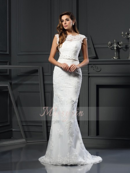 A-Line/Princess Sleeveless Bateau Court Train Satin Wedding Dresses