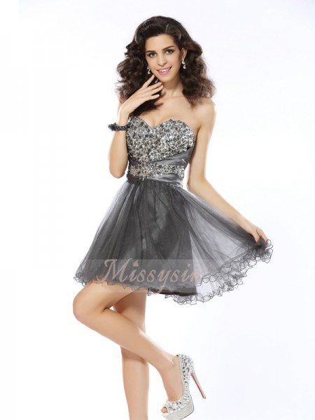 A-Line/Princess Sleeveless Sweetheart Ruffles Short/Mini Net Dresses