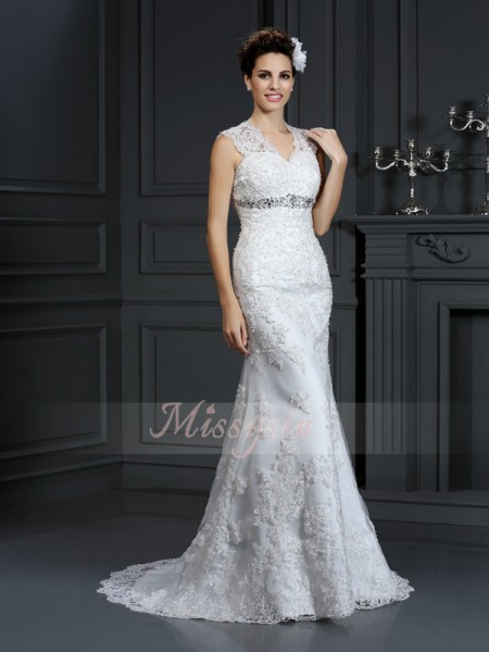 Sheath/Column Sleeveless V-neck Beading Sweep/Brush Train Lace Wedding Dresses