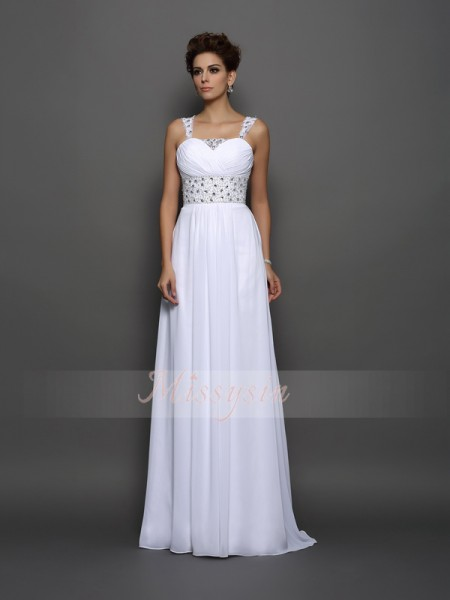 A-Line/Princess Sleeveless Straps Beading Court Train Chiffon Wedding Dresses