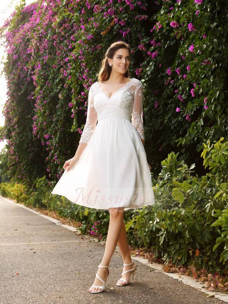 A-Line/Princess 3/4 Sleeves V-neck Knee-Length Chiffon Wedding Dresses