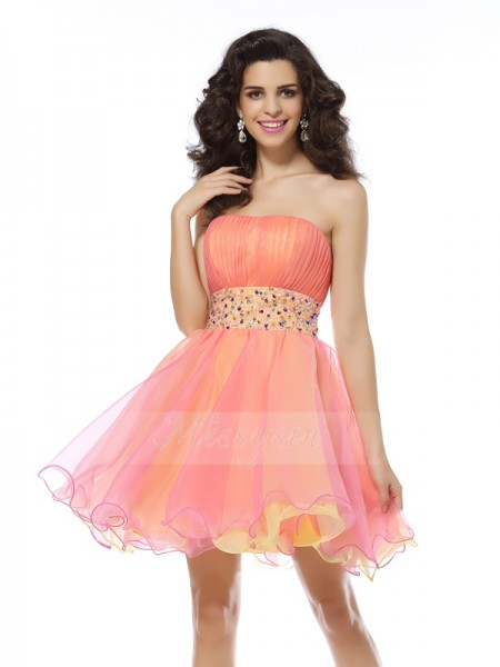 A-Line/Princess Sleeveless Strapless Beading Short/Mini Organza Dresses