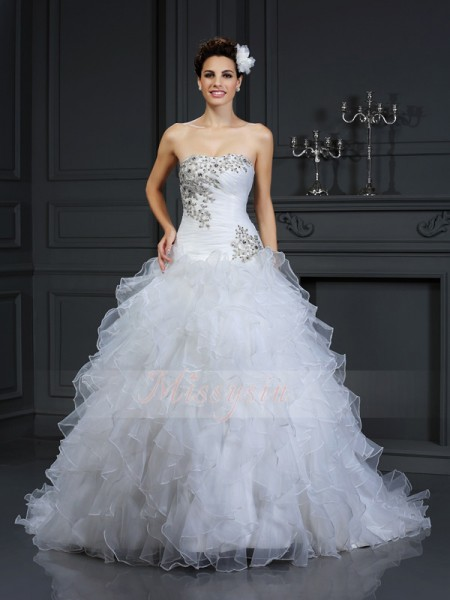 Ball Gown Sleeveless Strapless Beading Chapel Train Organza Wedding Dresses