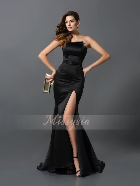 Sheath/Column Sleeveless Strapless Sash/Ribbon/Belt Floor-Length Satin Dresses