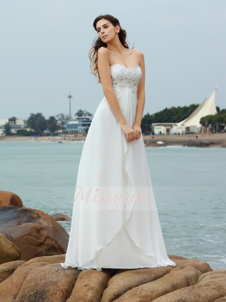 A-Line/Princess Sleeveless Sweetheart Beading Floor-Length Chiffon Wedding Dresses