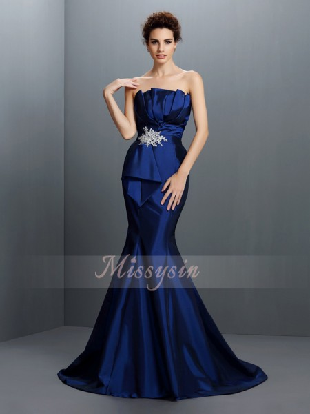 Trumpet/Mermaid Sleeveless Strapless Beading Sweep/Brush Train Taffeta Dresses