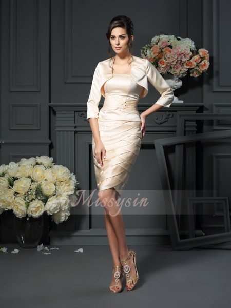 Sheath/Column Sleeveless Strapless Pleats Knee-Length Satin Mother Of The Bride Dresses