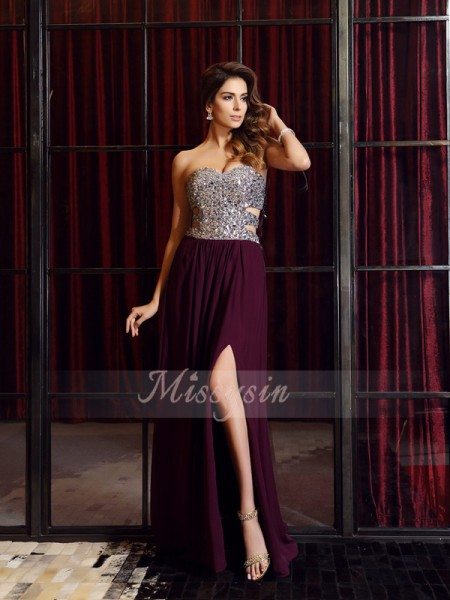 A-Line/Princess Sleeveless Sweetheart Beading Sweep/Brush Train Chiffon Dresses