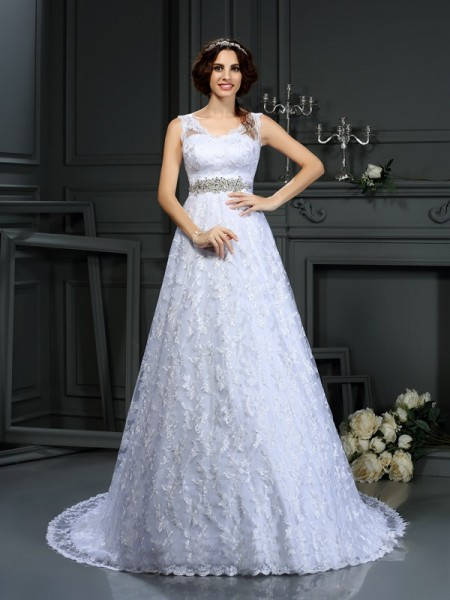 A-Line/Princess Sleeveless V-neck Court Train Satin Wedding Dresses