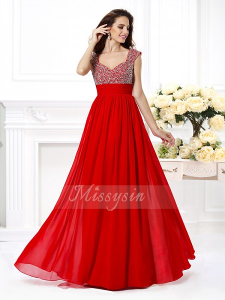 A-Line/Princess Sleeveless Straps Beading,Paillette Floor-Length Chiffon Dresses