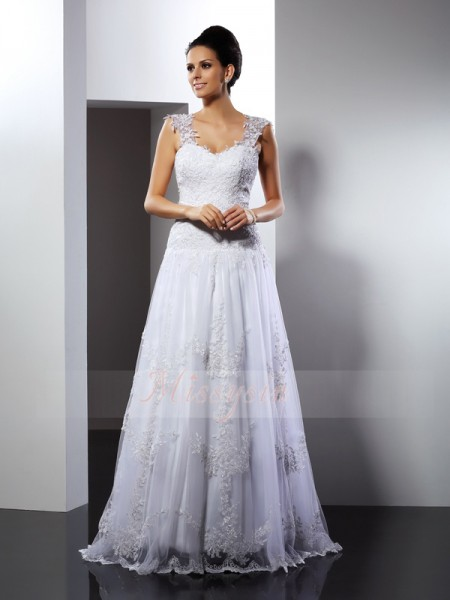 A-Line/Princess Sleeveless Straps Applique Court Train Lace Wedding Dresses