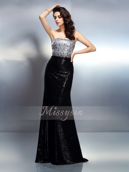 Trumpet/Mermaid Sleeveless Strapless Sequin Sweep/Brush Train Sequins Dresses