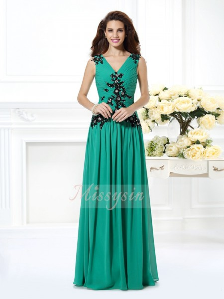 A-Line/Princess Sleeveless V-neck Beading,Applique Floor-Length Chiffon Dresses