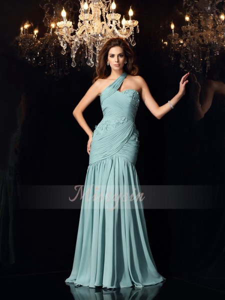 Trumpet/Mermaid Sleeveless One-Shoulder Sweep/Brush Train Chiffon Dresses