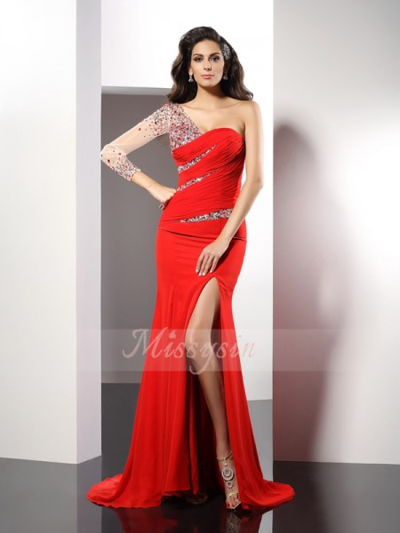Sheath/Column 3/4 Sleeves One-Shoulder Beading Sweep/Brush Train Chiffon Dresses