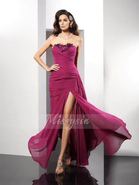 Sheath/Column Sleeveless Strapless Beading Floor-Length Chiffon Dresses