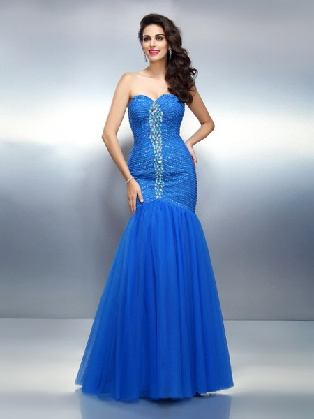 Trumpet/Mermaid Sleeveless Sweetheart Rhinestone Floor-Length Satin Dresses