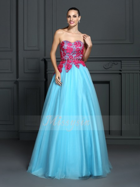 Ball Gown Sleeveless Sweetheart Floor-Length Satin Dresses