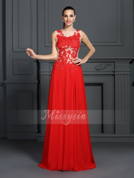 A-Line/Princess Sleeveless Bateau Applique Sweep/Brush Train Chiffon Dresses