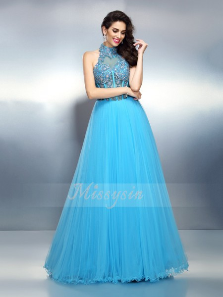 A-Line/Princess Sleeveless High Neck Beading Floor-Length Satin Dresses