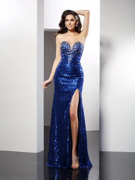 Sheath/Column Sleeveless Sweetheart Sequin Floor-Length Sequins Dresses
