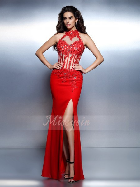 Trumpet/Mermaid Sleeveless High Neck Beading Floor-Length Chiffon Dresses