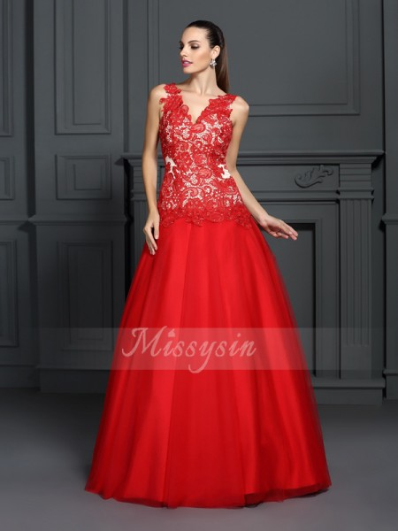 Ball Gown Sleeveless V-neck Floor-Length Lace Dresses