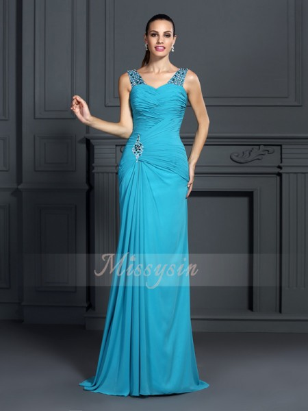 Trumpet/Mermaid Sleeveless Straps Ruffles Sweep/Brush Train Chiffon Dresses