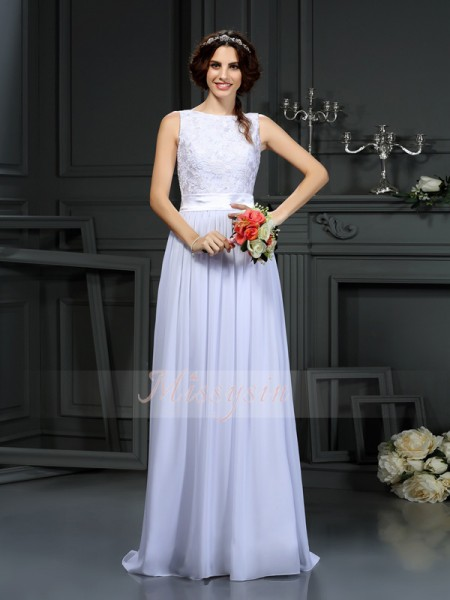 A-Line/Princess Sleeveless Scoop Floor-Length Chiffon Wedding Dresses