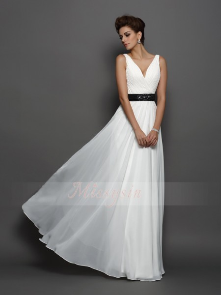 A-Line/Princess Sleeveless V-neck Sash/Ribbon/Belt Floor-Length Chiffon Wedding Dresses