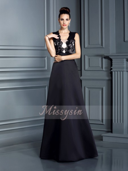 A-Line/Princess Sleeveless Straps Floor-Length Satin Dresses