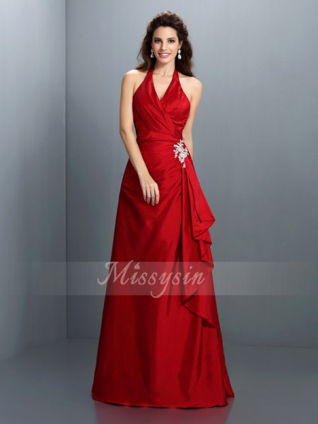 A-Line/Princess Sleeveless Halter Beading Floor-Length Taffeta Dresses