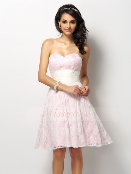 A-Line/Princess Sleeveless Sweetheart Short/Mini Satin Bridesmaid Dresses