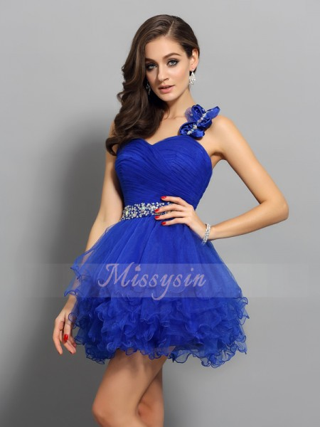 A-Line/Princess Sleeveless One-Shoulder Beading Short/Mini Organza Dresses