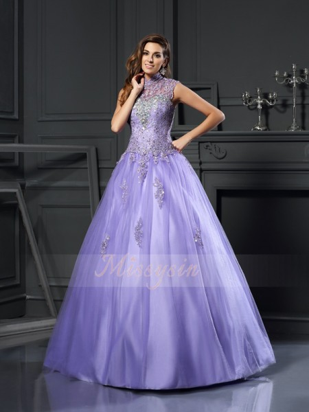 Ball Gown Sleeveless High Neck Beading,Applique Floor-Length Net Dresses
