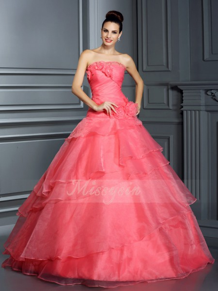 Ball Gown Sleeveless Strapless Hand-Made Flower Floor-Length Organza Dresses